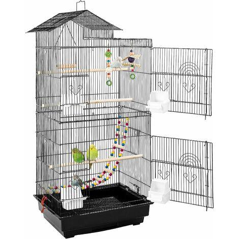 MVPOWER Bird Cage Bird Aviary Jaula de metal para periquitos con juguetes para pájaros y escaleras para pájaros, 46 x 35,5 x 99,5 cm Bird Culture Aviary para canarios, cockatiels, loros, palomas, pinzones
