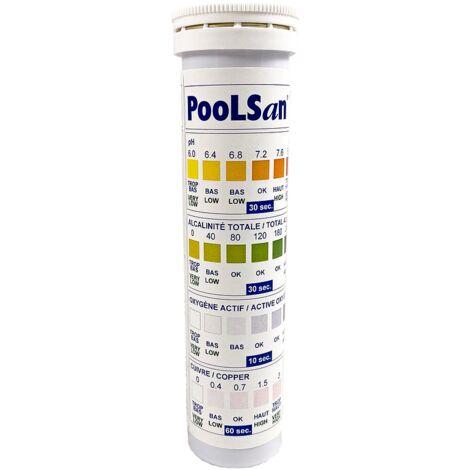 Poolsan étui 25 tests pH/Alcalinité Totale/Oxygène Actif (Clarifiant)/Cuivre (Assainissant) - Blanc