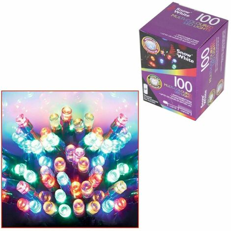 Snow White 100 LED String Lights Christmas Decoration Timer 8 Function Indoor-Outdoor