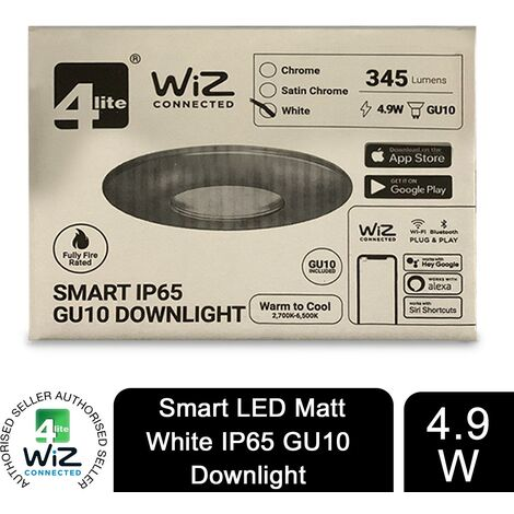 4lite WiZ Connected GU10 Smart LED Bulb with Matt White FireRated Downlight IP65