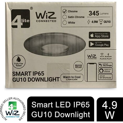 4lite WiZ Connected GU10 Smart LED White Bulb with Chrome Downlight IP65
