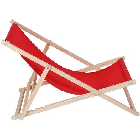Chaise Longue de Jardin Pool Pliable Transat Bois Rouge 120 kg Kingpower