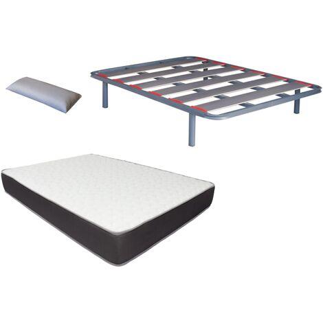 Pack somier Lama ancha con papel de carbono (patas incluidas)+colchon HR MEGA CONFORT VISCO+ almohada DE REGALO 080X180