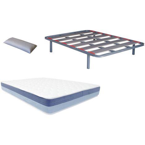 Pack somier Lama ancha con papel de carbono (patas incluidas)+colchon HR BASIC BLUE VISCO+ almohada DE REGALO 080X190