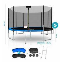 Cama Elástica - Trampolín exterior Deluxe 14ft ø427cm - Con red de seguridad, Estera de salto, Escalera, Acolchado Azul/Negro - Azul / Negro