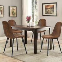 Lot de 4 Chaises Scandinave Design Tissu en Daim Marron Pied Métal Noir Salle à manger Salon Bureau Chambre 44x44x87cm