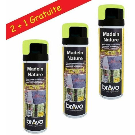 Lot de Bombes de Peinture, Spray Peinture Spécial Marquage et Traçage Permanent, 500 ml - Jaune fluo - Lot de 3. - Jaune fluo