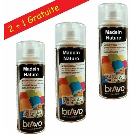 Lot de bombes de peinture, spray Vernis Incolore, Mat, Satin, Brillant, Intérieur et Extérieur, 400 ml, de MadeInNature - Mat - Lot de 3.