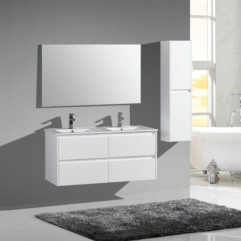Aquadoli meuble bas avec vasque céramique  2 tiroirs 1200 x 460 x550 mm laque blanc - JINDOLI