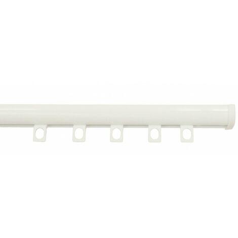 Tringle Rail Décorail Prêt à Poser, Pour Rideau à Galon Fronceur longueur 1 mètre Coloris - Blanc laqué - Blanc laqué
