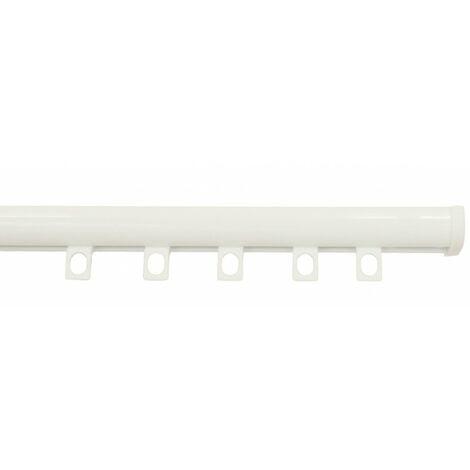 Tringle Rail Décorail Prêt à Poser, Pour Rideau à Galon Fronceur longueur 2 mètres Coloris - Blanc laqué - Blanc laqué
