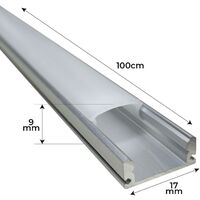 Perfil de Aluminio 1M para tira led. Tapones y clips incluidos | Pack 4 Uds. - Pack 4 Uds.