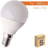Bombilla LED G45 E14 7W 680LM | Pack 5 Uds. - Blanco Frío 6500K
