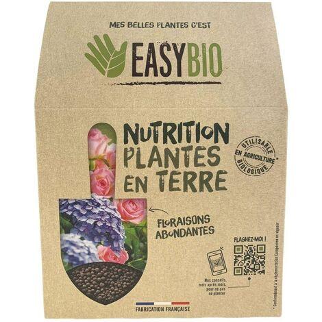 EASYBIO Engrais plantes en terre, plantes fleuries, arbustes - engrais d'origine naturelle, 500g