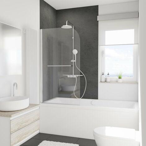 Mampara para bañera plegable, 80 x 140 cm, cristal de 5 mm, mampara de baño con 1 panel abatible Schulte, cristal transparente anticalcáreo fixil, perfil aspecto cromado