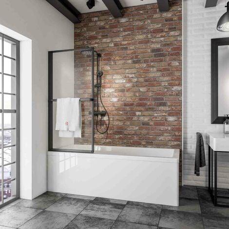 Mampara para bañera plegable, sin perforación, cristal transparente de 3 mm, mampara de baño para pegar Schulte, perfil negro, 70 x 140 cm, 1 panel abatible