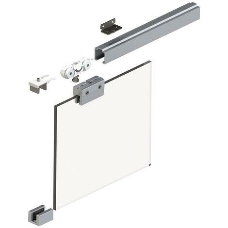 Schiebesystem 73 50 kg 2500 mm Edelstahl-Effekt Glastüren 8 mm Komplettset 1110 -1300 mm Deckenmontage