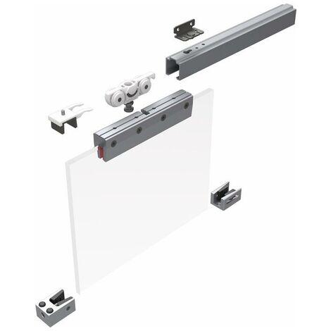 Schiebesystem 73 80 kg 2500 mm Edelstahleffekt Glastüren 8/10 mm Komplettset 1110 -1300 mm Deckenmontage