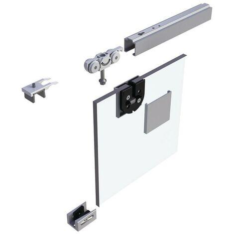Schiebesystem 73 80 kg 2500 mm Edelstahleffekt Glastüren 8-10,76 mm Komplettset 1110 -1300 mm Deckenmontage