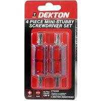 Dekton DT65208 4PC Mini Stubby Screwdriver Set 2x Flat & 2x Pozi