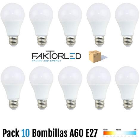 Pack 10 bombillas a60 e27 10w 6000k blanco frio