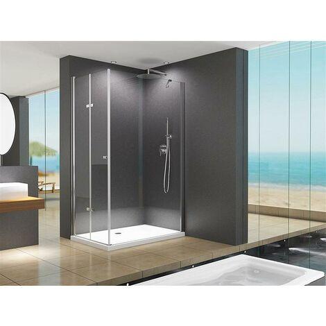Cabine de douche Cornelia en angle 100x90x195cm / 8 mm / en verre transparent sans receveur de douche, salle de bain.
