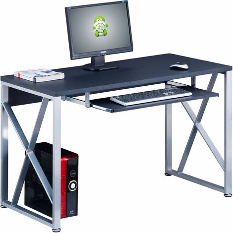Compact Computer Desk with Keyboard Shelf Piranha Beluga PC13g - Graphite Black