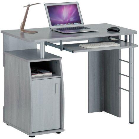 Computer and Writing Desk with Cupboard, Storage & Retractable Keyboard Shelf in Silver Grey - Piranha Furniture Elver PC 1y - Silver Grey