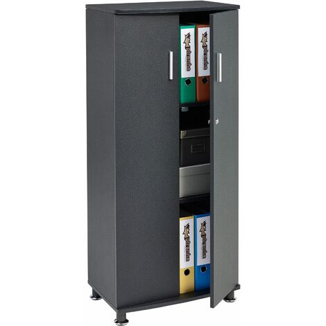 Tall Cupboard with 3 shelves Storage Filing Cabinet Matching Range of Home Office in Graphite Black - Piranha Furniture Bonito PC 6g - Graphite Black