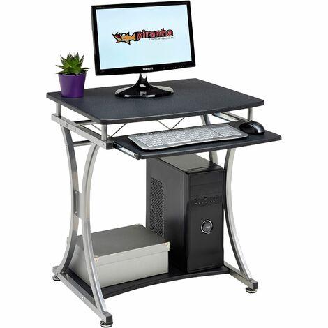 Compact Computer Desk Trolly with Keyboard Shelf Home Office in Graphite Black - Piranha Furniture Minnow PC 11g - Graphite Black