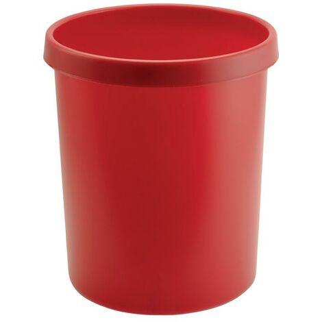 helit Corbeille à papier 30l 30 l H405xD.350 mm avec bord à poignée plastique rouge