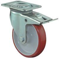 BS Rollen Rouleau de renvoi D. de la roue 150 mm cap. charge 240 kg avec blocage total polyuréthane plaque L135xl110mm couleur rouleau rouge