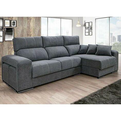 Sofa Chaiselongue, 3 plazas, en medida 255 cms, color Gris, ref-06
