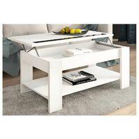 Mesa de centro Elevable color Blanco con Revistero y Cristales ref-05