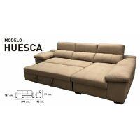 Sofa Chaiselongue Cama, 3 plazas, 292 cms, color Beige, ref-03