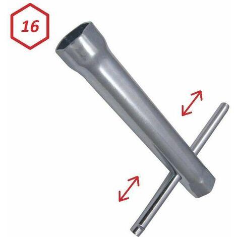 Clé à bougie 16mm tube longueur 100mm Hexagonale avec manche amovible