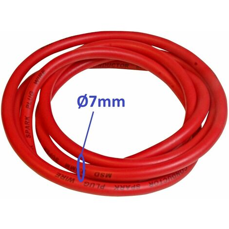 Fil à bougie rouge 7mm cuivre câble allumage tondeuse tracteur motoculteur