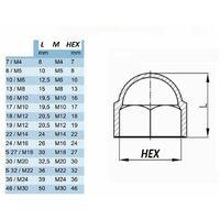 20x cache écrou noir M10 x HEX 16mm capuchon protection bouchon plastique