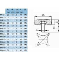 4x vis étoile M6 x 20 bouton moleté manœuvre tête plastique