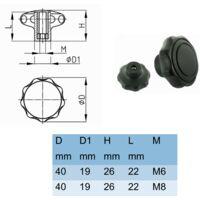 4x écrou plastique M8 insert acier bouton molette moleté manœuvre