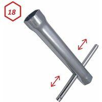 Clé à bougie 18mm tube longueur 100mm Hexagonale avec manche amovible