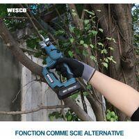 Scie Sauteuse sans Fil, WESCO 2 en 1 18 V Scie sauteuse, batterie Li-ion 2.0AH, longueur de course de 16 mm, avec 10 lames pour couper le bois, le métal, l'aluminium, la céramique, WS2979.1