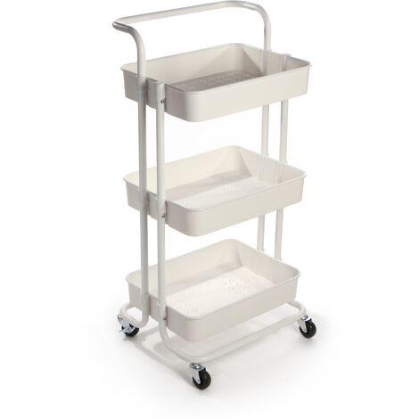 3 Tier Storage Trolley   M&W White
