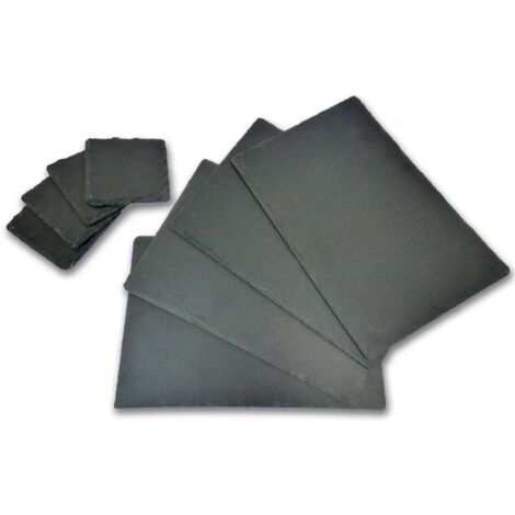 Natural Slate Placemats & Coasters - 16pc | M&W - Black