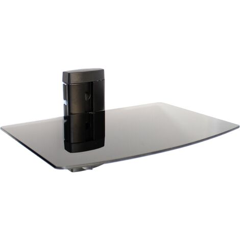 Tempered Black Glass Floating Shelf   M&W 1 Tier - Black