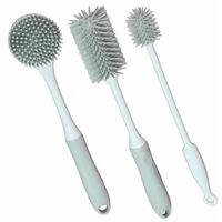 Silicone Cleaning Brushes Grey - Set of 3   M&W - Grey