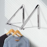 Wall Mounted Folding Clothes Hanger Double   M&W - Silver