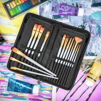 15 Piece Artists Paint Brush Set & Case   Pukkr - Grey