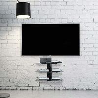 Tempered Black Glass Floating Shelf 3 Tier | M&W