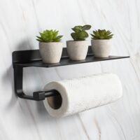 Kitchen Roll Holder with Shelf | M&W - Black